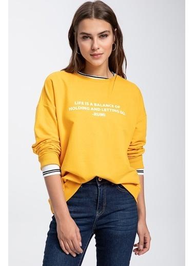 DeFacto Slogan Baskılı Sweatshirt Sarı